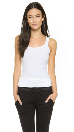 Brushed Jersey Long Tank Top by James Perse in Rosewood