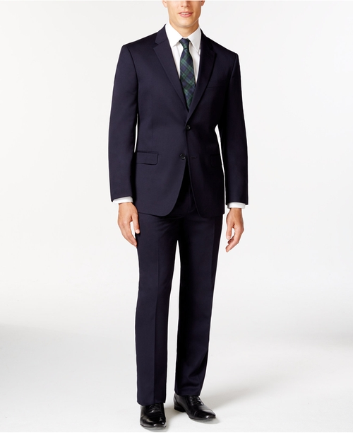 Slim-Fit Solid Navy Suit by Tommy Hilfiger in The Departed