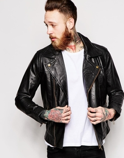 Leather Biker Jacket by Only & Sons in Grease