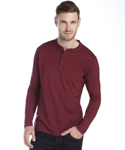 Cotton Long Sleeve Henley by Tailor Vintage in Silicon Valley