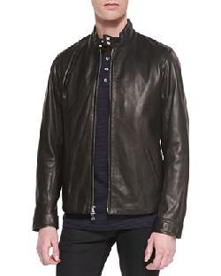 Harrington Leather Moto Jacket & Long-Sleeve Striped Henley Tee by Vince in Godzilla