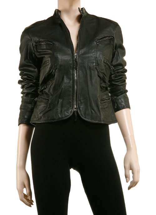 Soft Leather Moto Goddess Jacket by Max Studio in The American