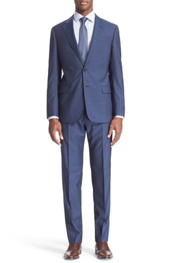 Trim Fit Solid Wool Suit by Armani Collezioni in Suits