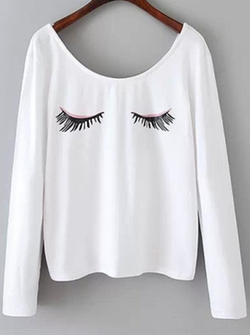 Eyelash Print T-Shirt by Romwe in Scream Queens