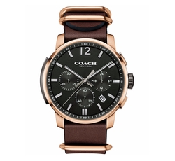 Bleecker Chrono Mahogany Leather Strap Watch  by Coach  in Pretty Little Liars