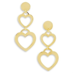 Vista Bella 14k Bonded Gold Cut Out Duo Hearts Love Dangle Earrings