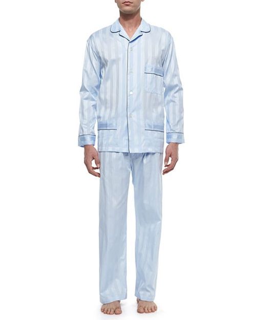 Tonal-Stripe Pajama Set by Bonsoir London in Mechanic: Resurrection