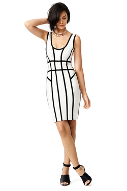 Along The Lines Sheath Dress by Hervé Léger in Black-ish