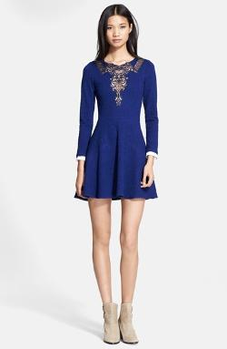 Lace Inset Jacquard Fit & Flare Dress by The Kooples in Addicted