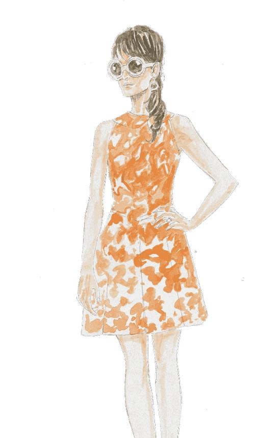 Custom Made Orange Camo-Mini Dress by Joanna Johnston (Costume Designer) in The Man from U.N.C.L.E.