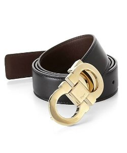 Double Gancini Leather Belt by Salvatore Ferragamo in Savages