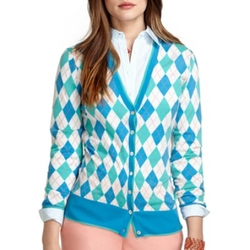 Saxxon Wool Argyle Cardigan by Brooks Brothers in Pretty Little Liars