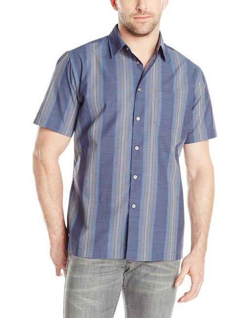 Men's Short Sleeve Stripe Faux Linen Button Up Shirt by Van Heusen in Couple's Retreat