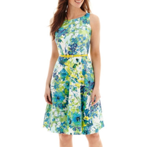 Sleeveless Belted Floral Fit-and-Flare Dress by Black Label by Evan-Picone in Max