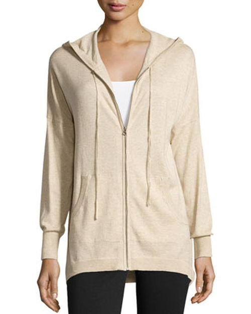 Hooded Zip-Front Cotton Cardigan by Neiman Marcus in Captive