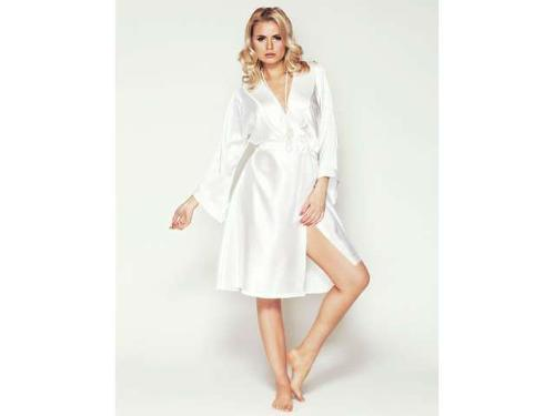 Adore Flawless White Satin Robe by Mio Lounge in Yves Saint Laurent