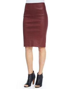 Lamb Leather Pencil Skirt by Vince in Focus