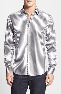 Trim Fit Stripe Egyptian Cotton Sport Shirt by Stone Rose in Crazy, Stupid, Love.