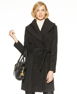 Bouclé-Knit Wrap Coat by Calvin Klein  in The Girl on the Train
