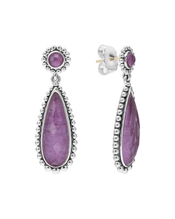 Maya Silver Charoite Teardrop Earrings by Lagos in Sex and the City