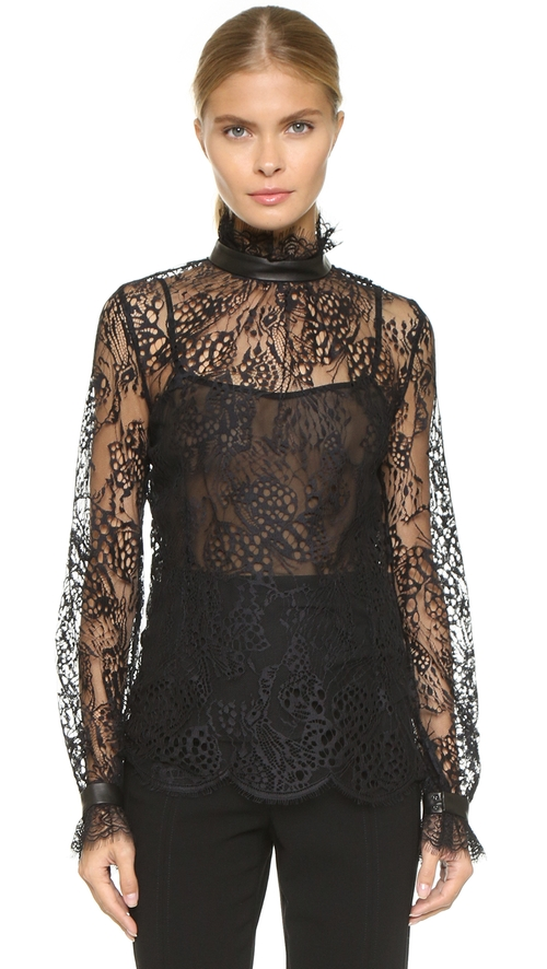 Lace Turtleneck Blouse by Tamara Mellon in Keeping Up With The Kardashians - Season 11 Episode 4