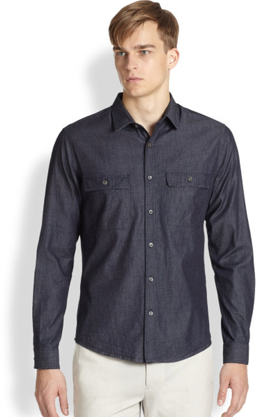 Blue Barham Turini Denim Sportshirt by Theory in Ant-Man