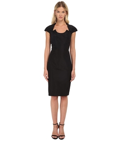 Fitted Dress With U-Neckline Cutout And Cap Sleeves by Zac Posen in Suits