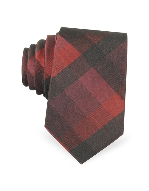 Plaid Woven Silk Narrow Tie by Forzieri in Steve Jobs