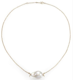 White Baroque Pearl Diamond Necklace by Mizuki in Spy