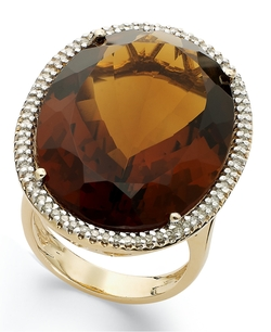 Cognac Quartz Diamond Ring by Macy's in Sex and the City