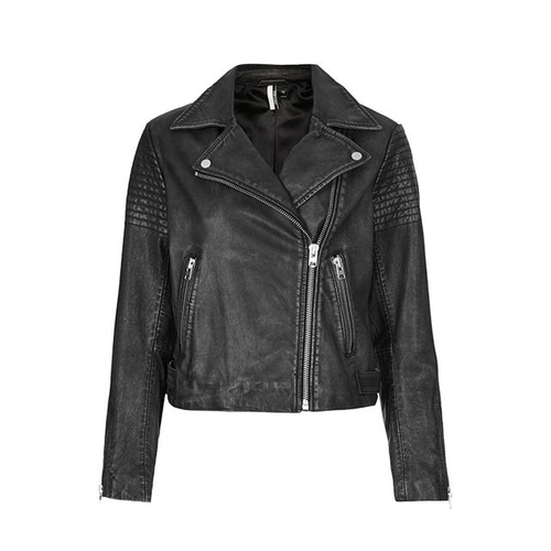 Authentic Washed Leather Biker Jacket by Topshop in Scream Queens - Season 1 Episode 1
