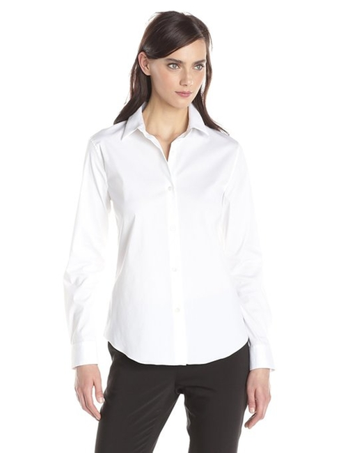 Tenia Luxe Cotton Button Down Shirt by Theory in Survivor