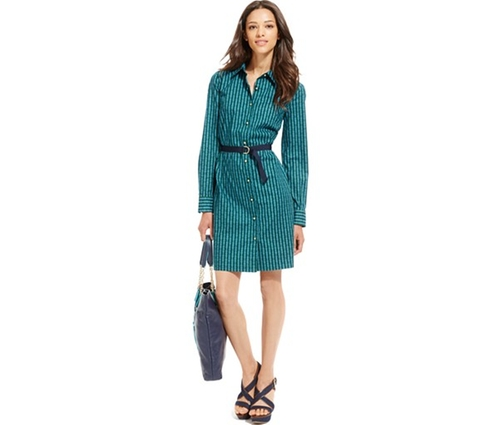 Chain Print Belted Shirt Dress by Tommy Hilfiger in Love the Coopers
