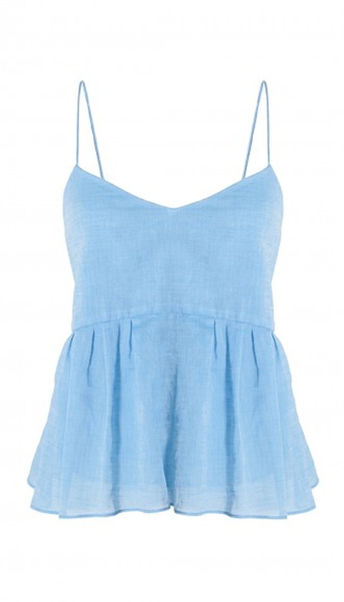Summer Space Dyed Ruffle Cami Top by Tibi in Burnt