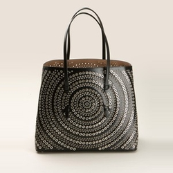 Eyelet-Embellished Leather Tote Bag by Azzedine Alaia in Empire