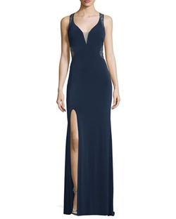 Sleeveless V-Neck Lace Illusion Gown by La Femme  in Ride Along 2