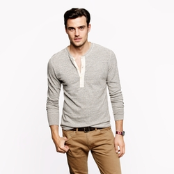 Homespun Knitwear Coalminer Contrast Henley Shirt by J.Crew in The Maze Runner