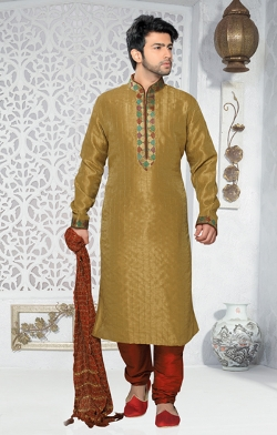 Gold Color Art Silk Kurta by Indian Attire in The Second Best Exotic Marigold Hotel