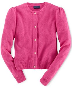 Girls' Solid Cashmere-Blend Cardigan by Ralph Lauren in Shutter Island