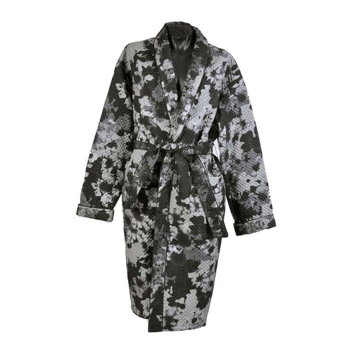 Belted Embroidered and Quilted Silk Robe by Versace in Self/Less