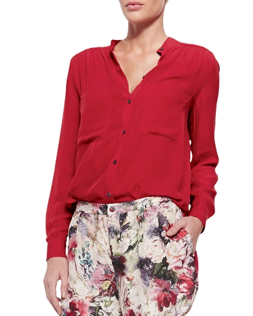 Loose Long-Sleeve Silk Blouse by Haute Hippie in The Second Best Exotic Marigold Hotel