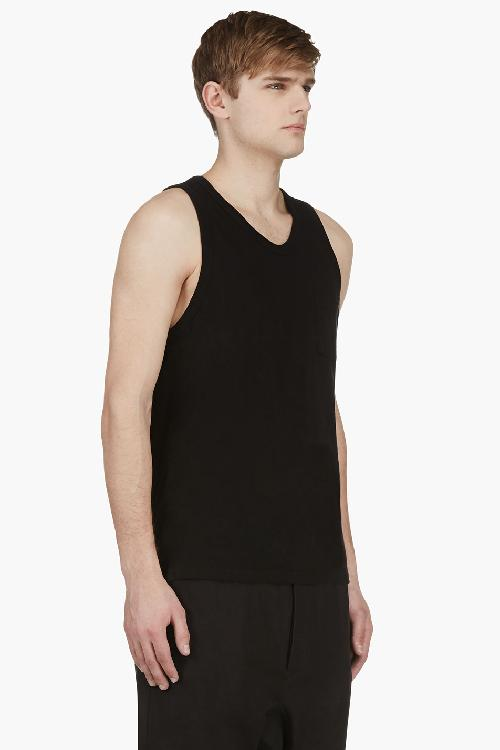 BLACK JERSEY POCKET TANK TOP by T BY ALEXANDER WANG in Vampire Academy
