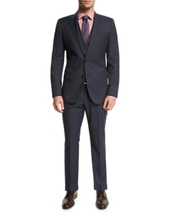 Hattrick Micro-Print Three-Piece Suit by Boss Hugo Boss in Gold