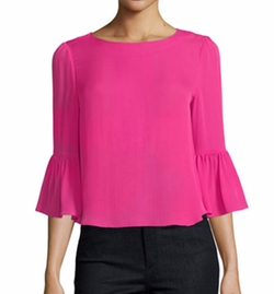 Bernice 3/4 Ruffle-Sleeve Back-Zip Top by Alice + Olivia in Designated Survivor