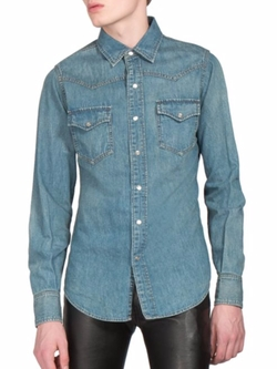 Denim Western Shirt by Saint Laurent in Empire
