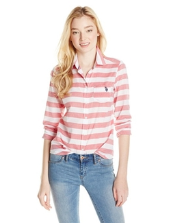Juniors Poplin Horizontal Stripe Shirt by U.S. Polo Assn. in The Best of Me