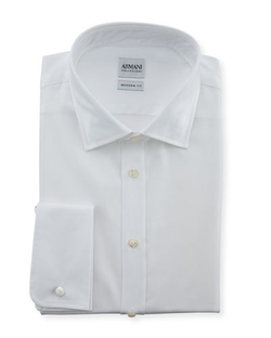Modern Fit Poplin Dress Shirt by Armani Collezioni in Suits