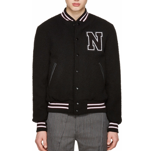 Wool Teddy Varsity Bomber Jacket by Noah NYC in Master of None