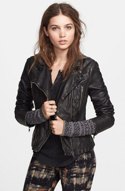 Hooded Faux Leather Moto Jacket by Free People in Scandal