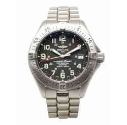 Superocean Stainless Steel Automatic Black Dial Watch by Breitling in Jason Bourne